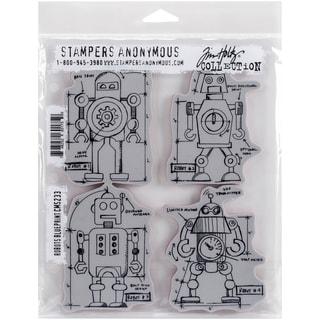 Tim Holtz Cling Rubber Stamp Set 7inX8.5inRobots Blueprint