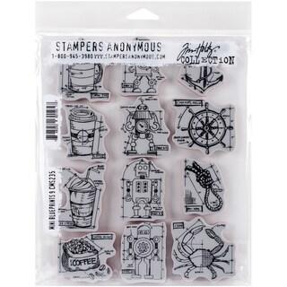 Tim Holtz Cling Rubber Stamp Set 7inX8.5inMini Blueprints #9