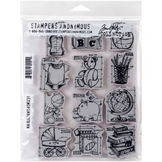 Tim Holtz Cling Rubber Stamp Set 7inX8.5inMini Blueprints #8