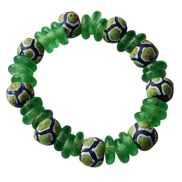 Green Recycled Glass Bracelet (Ghana)