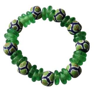Green Recycled Glass Bracelet (Ghana)