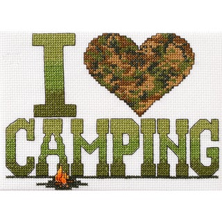 I Love Camping Mini Counted Cross Stitch Kit6.5inX4.75in 14 Count