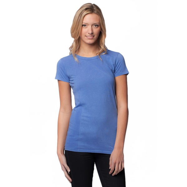 AtoZ Women's Antique Wash Cotton Crew Neck Tee