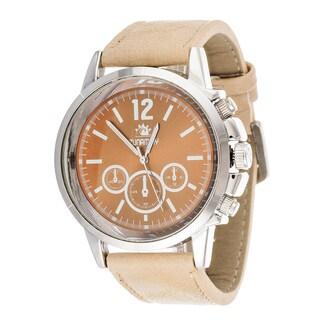 Zunammy Mens's Silvertone Case Beige Leather Strap Watch