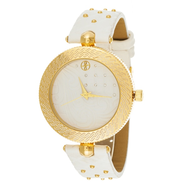 Fortune NYC Women's Goldtone Case White Quilted Dial White Leather Strap Watch