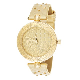 Fortune NYC Women's Goldtone Case Quited Dial Beige Leather Strap Watch