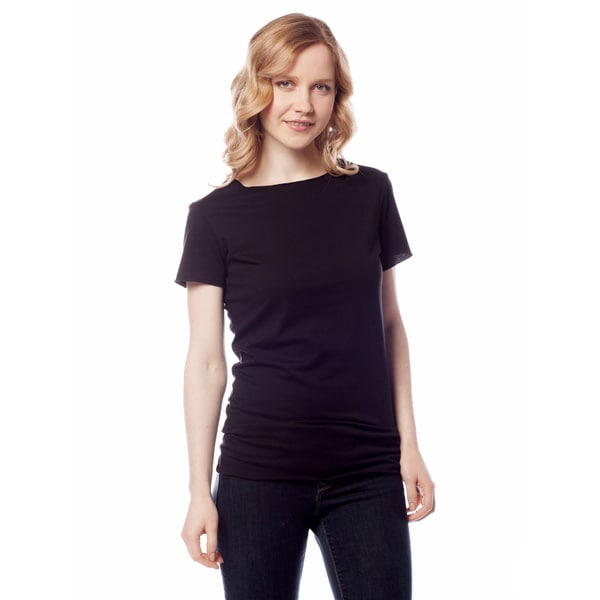 AtoZ Women's Basic Crew Neck Short Sleeve Top