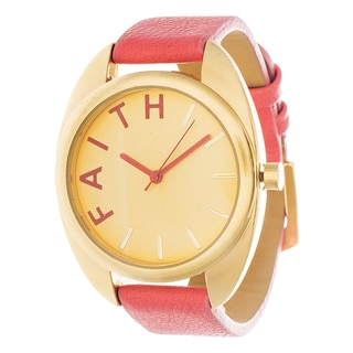 Fortune NYC Women's Goldtone Square Case 'Faith' Dial Orange Leather Strap Watch
