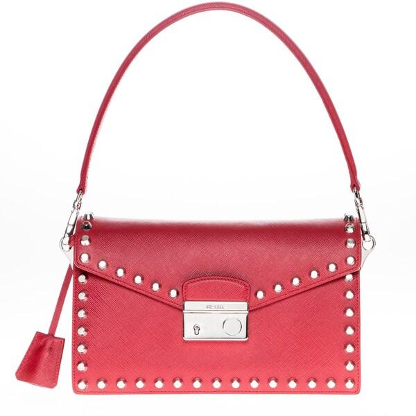 Prada Saffiano Lux Red Leather Studded Shoulder Bag