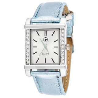Fortune NYC Women's Silvertone Square Case Blue Leather Strap Watch