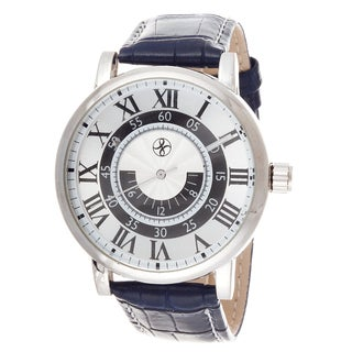 Fortune NYC Men's Silvertone Case Navy Blue Leather Strap Watch