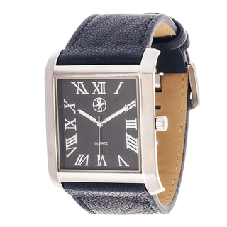 Fortune NYC Men's Silvertone Square Case Blue Leather Strap Watch