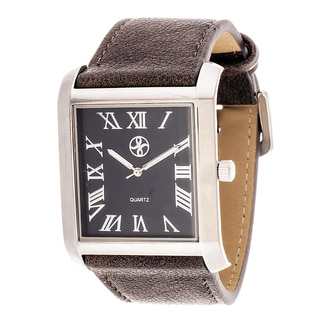 Fortune NYC Men's Silvertone Square Case Grey Leather Strap Watch