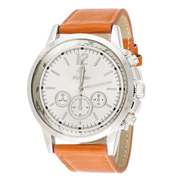 Zunammy Mens's Silvertone Case Orange Leather Strap Watch