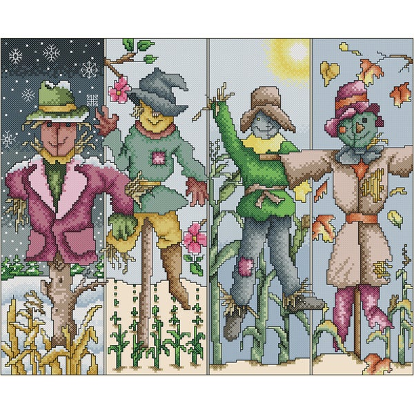 Scarecrow Seasons Counted Cross Stitch Kit14inX11.375in 14 Count