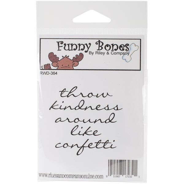 Riley & Company Funny Bones Cling Mounted Stamp 2.25inX2inThrow Kindness