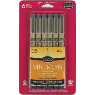 Pigma Micron Pens 08 .5mm 6/PkgBlack