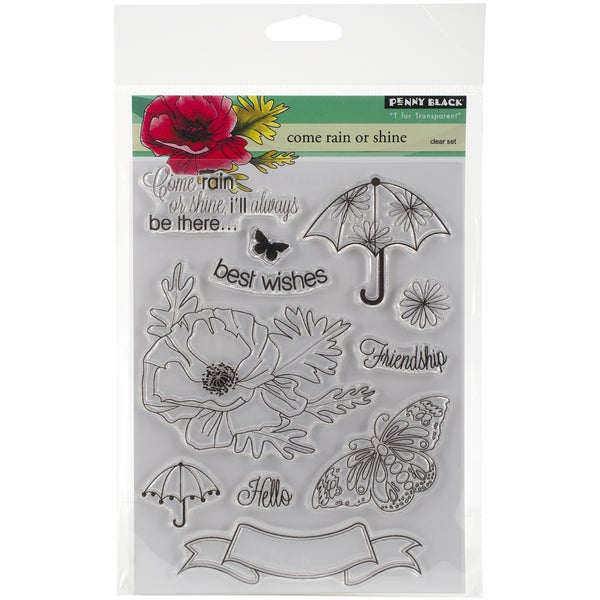 Penny Black Clear Stamps 5inX6.5in SheetCome Rain Or Shine
