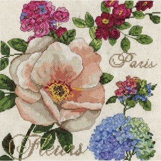 Paris Fleurs Counted Cross Stitch Kit10inX10in 14 Count