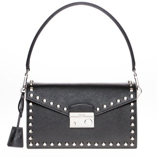 Prada Saffiano Lux Black Leather Studded Shoulder Bag
