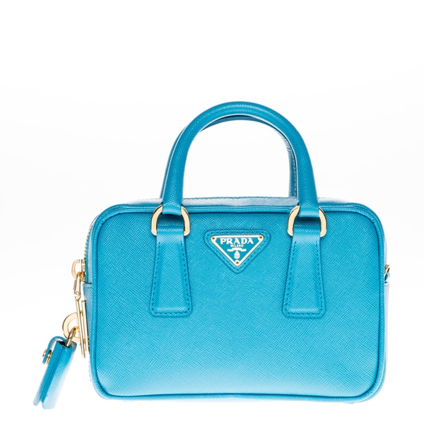 Prada Mini Teal Saffiano Leather Top Handle Bag
