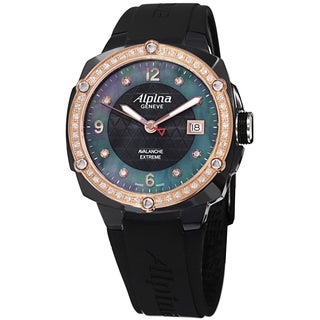 Alpina Women's AL-240MPBD3FBAED 'Adventure' Black Mother of Pearl Dial Black Rubber Strap Watch