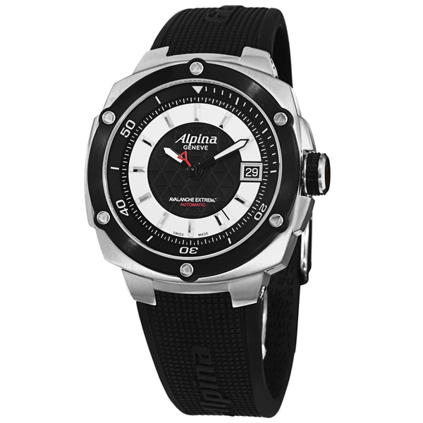 Alpina Men's AL-525LBS3AE6 'Adventure' Black Dial Black Rubber Strap Automatic Watch
