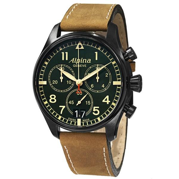 Alpina Men's AL-372GR4FBS6 'SmartimerPilot' Green Dial Beige Leather Strap Watch