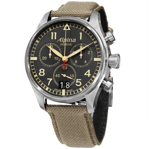 Alpina Men's AL-372BGR4S6 'SmartimerPilot' Grey Dial Beige Fabric Strap Chronograph Watch