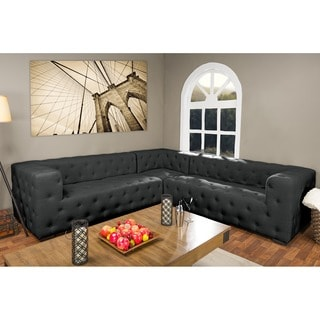 Verdicchio Grey Fabric Upholstered Button Tufted Sectional Sofa