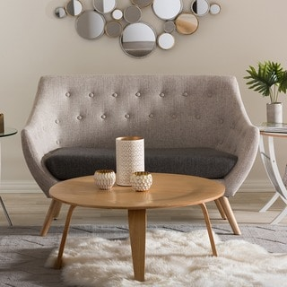 Banner Mid-century Grey Fabric Upholstered Loveseat