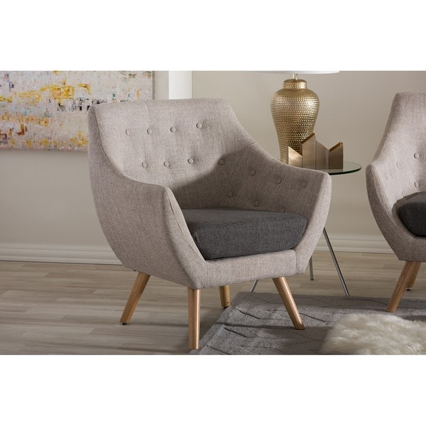 Banner Mid-century Grey Fabric Upholstered Armchair