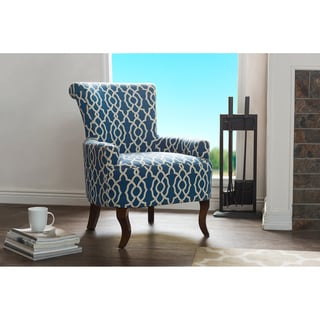 Audlington Contemporary Navy Blue Patterned Fabric Upholstered Armchair