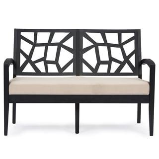 Jennifer Mid-century Ebony Finish and Beige Fabric Upholstered Modern Loveseat
