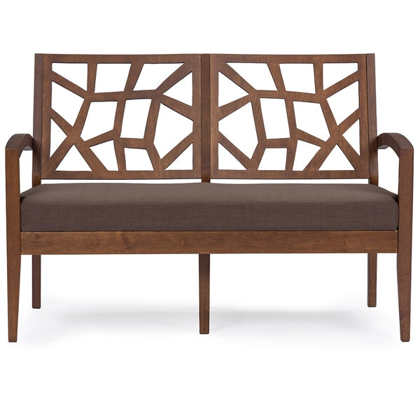 Jennifer Mid-century Dark Brown Finish Grey and Brown Mix Fabric Upholstered Modern Loveseat