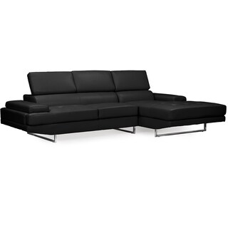 Adler Contemporary Black Bonded Leather Right Facing Sectional Sofa With Storage