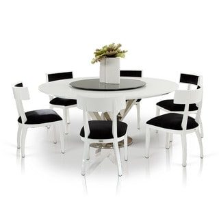 Modrest A&X Spiral - Modern Round White Dining Table with Lazy Susan