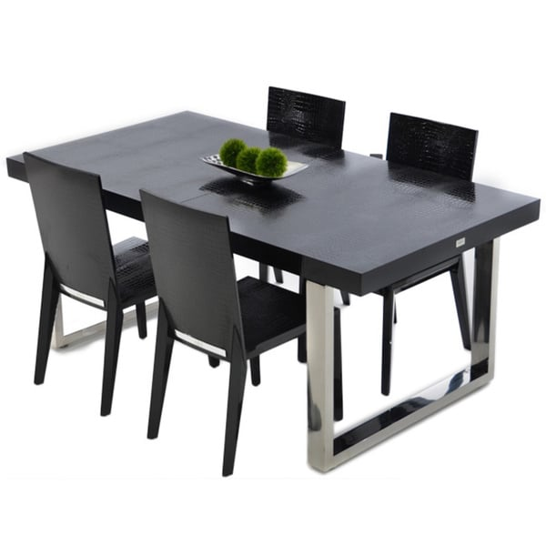 Modrest A X Skyline Modern Black Crocodile Lacquer Dining Table
