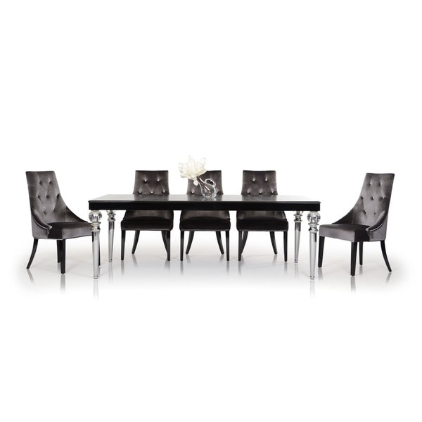 Modrest A&X Baccarat - Transitional Black Crocodile Lacquer Dining Table