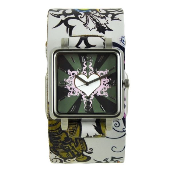 Nemesis White Heart Womens Watch with Multi-Color Floral Tattoo Design Leather Cuff Band