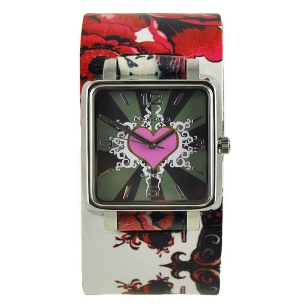 Nemesis Pink Heart Watch with Multi-Color Flower Tattoo Design Leather Cuff Band