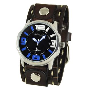 Nemesis Black and Blue Embossed 3D Men's Watch with Brown Cut Leather Cuff Band