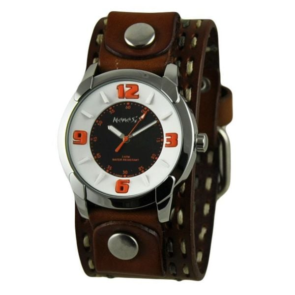 Nemesis Embossed Design Collection I Black and Orange Mens Watch with Brown Double Stitched Leather Cuff Band