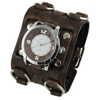 Nemesis White and Brown Embossed Men's Watch with Faded Brown Wide Detail Leather Cuff Band
