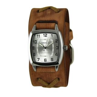 Nemesis Silver Classic Vintage Unisex Watch with Faded Brown X Leather Cuff Band