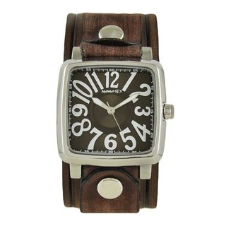 Nemesis Brown and White '3D Squared' Unisex Watch with Vintage Brown Embossed Stripes Leather Cuff Band