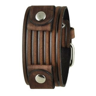Vintage Brown Embossed Stripes Leather Cuff Band