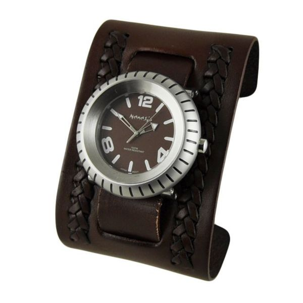 Nemesis Brown 'Wheelman' Mens Watch with Brown Wide Weaving Leather Cuff Band