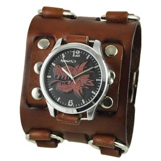 Nemesis Black and Red Dragon Head Mens Watch with Brown Wide Detail Leather Cuff Band