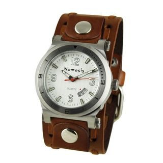 Nemesis Classic Silver 'Datetracker' Mens Watch with Brown Wide Weaving Leather Cuff Band